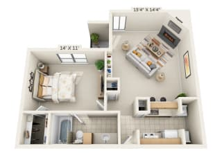 This is a 3D floor plan of a 692 square foot 1 bedroom apartment at Cambridge Court Apartments in Dallas, TX.