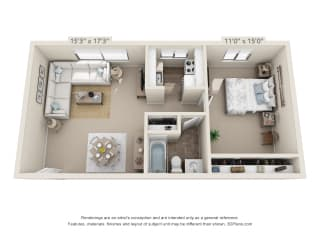 This is a 3D floor plan of a 572 square foot 1 bedroom apartment at Red BankReserve Apartments in Cincinnati, OH.