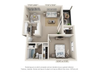 This is a 3D floor plan of a 578 square foot 1 bedroom apartment at Red BankReserve Apartments in Cincinnati, OH.