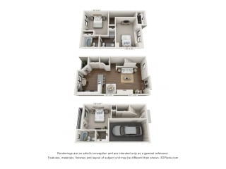 This is a 3D floor plan of a 1661 square foot 3 bedroom apartment at The Brownstones Townhome Apartments in Dallas, TX.