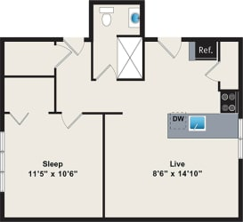 One bedroom floor plan at Irving Courts by Reside