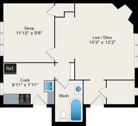 1 Bed 1 Bath Floor Plan at Irving Courts by Reside Apartments, Chicago, IL