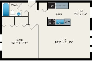 1 Bedroom Floor plan Option 3 at Reside at 2727 Apartments, 60614, Chicago