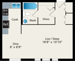 Studio Floor Plan Option 1 at Reside at 2727 Apartments, Chicago, IL