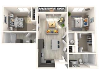 B1 Floor Plan at Paradise @ P83 Apartments, P.B. BELL Assets, Arizona