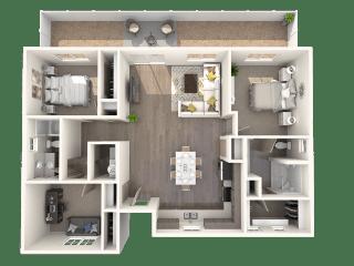 TG Plan 3 at Parke Place Apartments, P.B. BELL, Prescott Valley, Arizona 86314