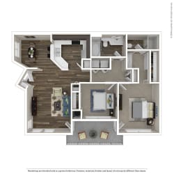 2 Bed,  Bath Floor Plan at Renaissance Apartment Homes, California, 95404