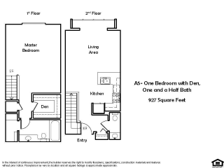 A5 E 1 Bed 1.5 Bath Floorplan at Pacific Place, Daly City, CA