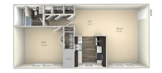Amber Dulles Glen  1 bedroom 1 bath unfurnished floor plan apartment in Herndon VA