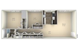 Berkley Dulles Glen  2 bedroom 1 bath unfurnished floor plan apartment in Herndon VA