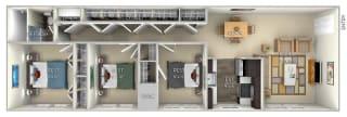 Cameron Dulles Glen 3 bedroom 1 bath  furnished floor plan apartment in Herndon VA