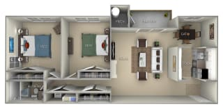 Fairfax Fairfax Square 2 bedroom 1 bath furnished floor plan apartment in Fairfax VA
