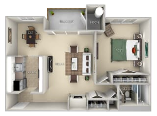Mason Fairfax Square 1 bedroom 1 bath furnished floor plan apartment in Fairfax VA