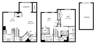Hayes Barrington Park 2 bedroom 2 and a half baths floor plan apartment in Manassas VA
