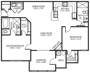 Plymouth phase I 2 bedroom 2 bath with sunroom at Village on the Lake Apartments in Spring Lake NC
