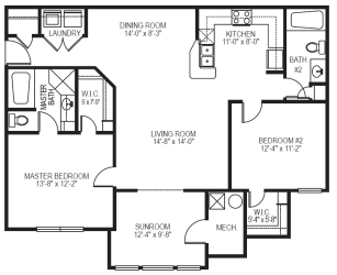 The Compass Pointe phase II 2 bedroom 2 bath with sunroom floor plan at Village on the Lake Apartments in Spring Lake NC