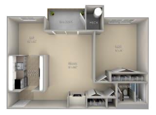 Mason Fairfax Square 1 bedroom 1 bath unfurnished floor plan apartment in Fairfax VA