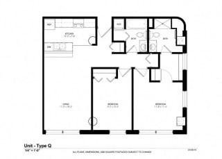 1 Bed 1 Bath Platform Floor Plan at Cosmopolitan Apartments, Saint Paul, MN