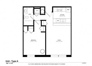 1 Bed - 1 Bath  744 sq ft floorplan at Cosmopolitan Apartments, Saint Paul