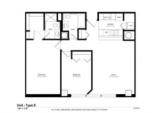 2 Bed 2 Bath Floor Plan at Cosmopolitan Apartments, Saint Paul, MN, 55101