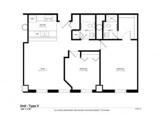 2 Bed - 2 Bath |804 sq ft floorplan at Cosmopolitan Apartments, Saint Paul