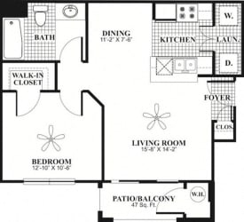 1 bed 1 Bath 615 square feet Comfort floor plan