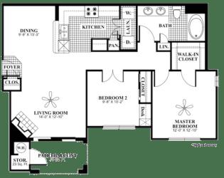 2 bed 1 Bath 970 square feet Refresh floor plan