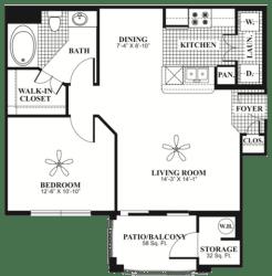 1 bed 1 Bath 715 square feet Retreat floor plan