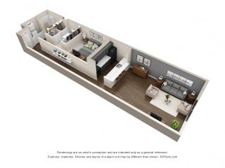 1 Bed - 1 Bath  830 sq ft floorplan at Cosmopolitan Apartments, Saint Paul, MN