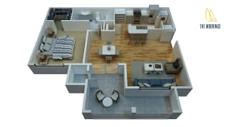 1 Bed - 1 Bath, 717 sq ft, A floor plan