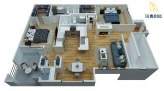 2 Bed - 2 Bath, 1237 sq ft, D floor plan