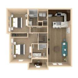 3d 2 Bed 2 Bath 1189 square feet floor plan Oasis