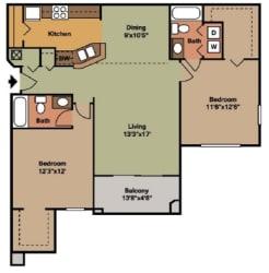 2 Bed - 2 Bath  1089 sq ft floorplan