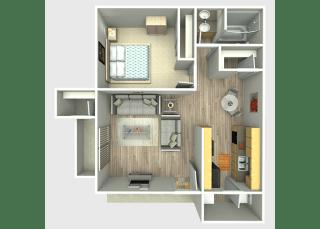 1 Bed, 1 Bath, 650 sq. ft. Eagle Floor Plan