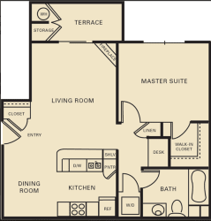 1 bed 1 bath 759 square feet floor plan The Dartmouth
