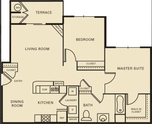 2 bed 1 bath 1071 square feet floor plan The Harvard