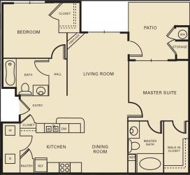 2 bed 2 bath 1121 square feet floor plan The Princeton