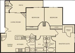 3 bed 2 bath 1196 square feet floor plan The Yale