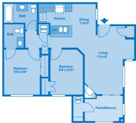 Villas at Montebella 2B Floor plan 2d image depicting floor play layout.