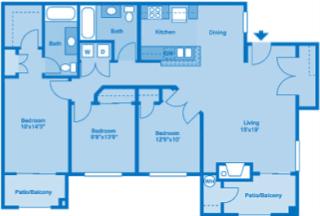 Villas at Montebella 3B Floor plan 2d image depicting floor play layout.