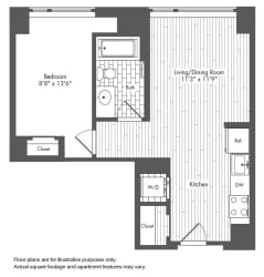 A3 1 Bed 1 Bath Floor Plan at Waterside Place by Windsor, Boston, MA, 02210