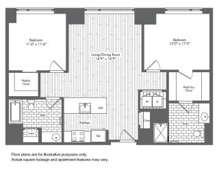 B2 2 Bed 2 Bath Floor Plan at Waterside Place by Windsor, Boston, Massachusetts