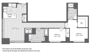 B4 2 Bed 2 Bath Floor Plan at Waterside Place by Windsor, Massachusetts