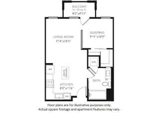 S1-W Studio Floor Plan at Blu Harbor by Windsor, Redwood City, CA