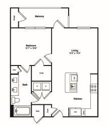 1 Bedroom 1 Bath Floor Plan at Windsor Castle Hills, Texas