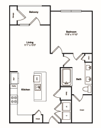 A4 1 Bed 1 Bath Floor Plan at Windsor Castle Hills, Texas, 75010