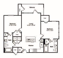 2 Bed 2 Bath Floor Plan at Windsor Castle Hills, Carrollton, 75010