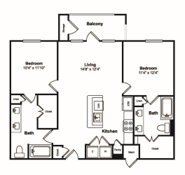 2 Bedroom 2 Bathroom Floor Plan at Windsor Castle Hills, Carrollton, Texas