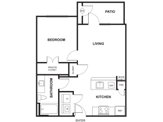 1 Bed 1 Bath Floor Plan at Windsor Ridge, Austin, TX