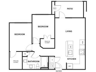 2 Bedroom 1 Bathroom Floor Plan at Windsor Ridge, Texas